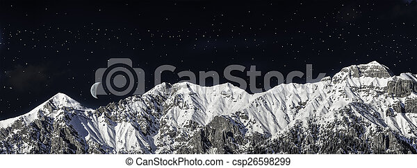 chain of mountains in winter in the night - csp26598299