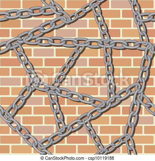 chain on brick wall seamless background - csp10119188