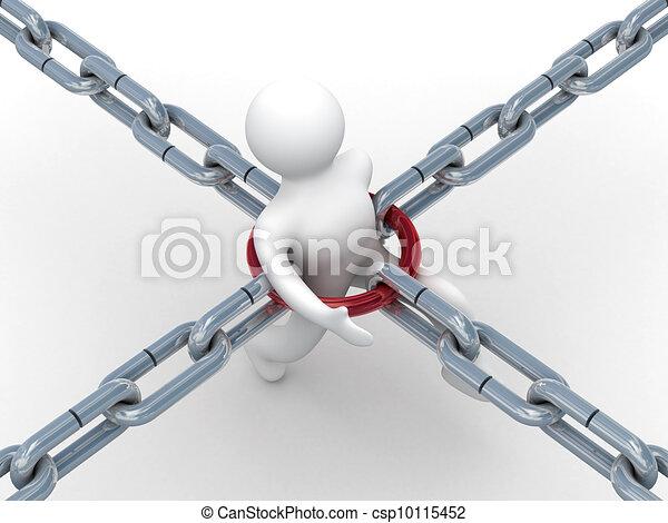 chain., persona, imagen, fondo., blanco, 3d, suelo - csp10115452