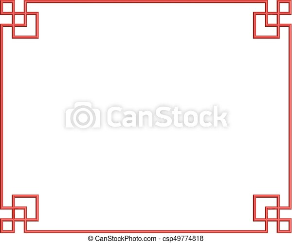 Chaina pattern frame 04. Red 3d pattern of china frame, vector ...