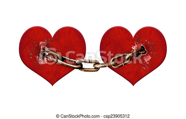 Clip Art Line Of Hearts : Chained hearts digital collage illustration love or clipart