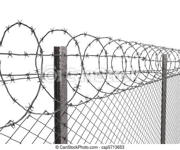 barbed wire fence drawing. Chainlink Fence With Barbed Wire On Top Closeup - Csp5713653 Drawing H