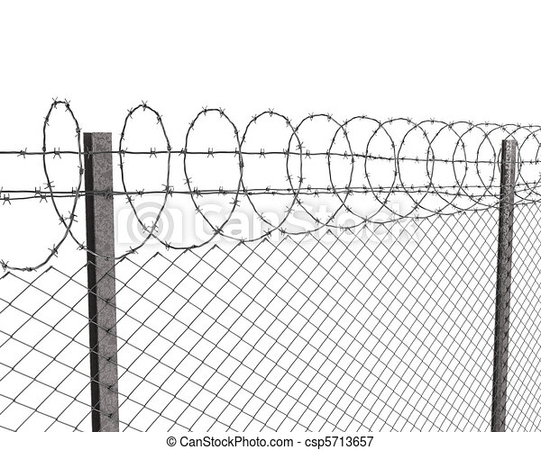 Chainlink fence with barbed wire on top isolated on white background.