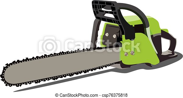 chainsaw realistic vector illustration isolated - csp76375818