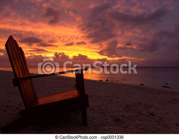 Chair and Sunset - csp0031336