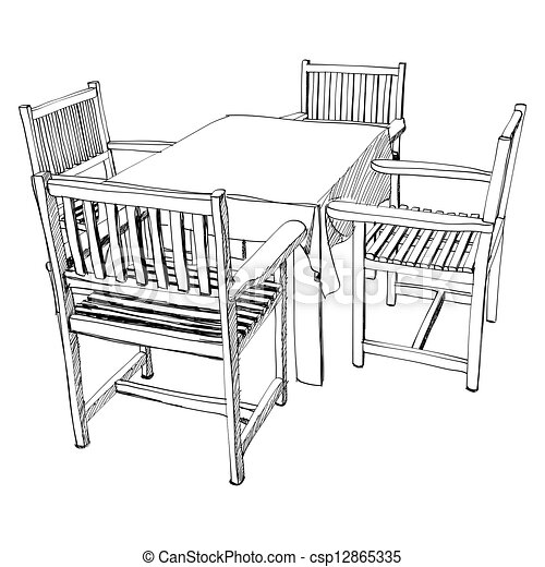 The Abstract Of Chair And Table Set Hand Drawn Vectors
