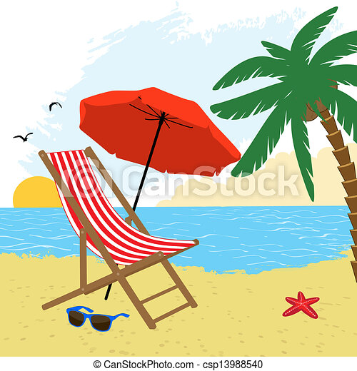 chair and umbrella on the beach with palm tree vector eps vector rh canstockphoto com beach vector black and white beach vector clip art