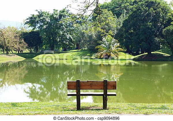 chair at lake - csp9094896