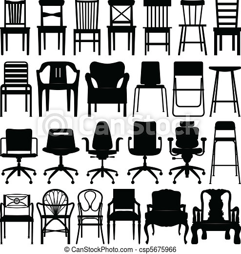 Chair black silhouette set. A set of chairs design. clip art vector ...
