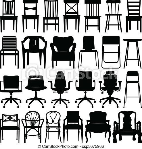 Chair Black Silhouette Set - csp5675966