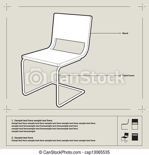 Chair blueprint vector white chair blueprint perspecive chair blueprint vector malvernweather Image collections