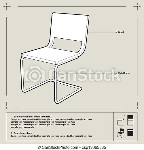 Chair blueprint vector white chair blueprint perspecive chair blueprint vector malvernweather Images