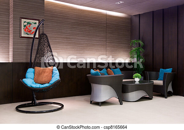 Chair Hanging On A Chain In The Hotel Lobby Sofa   Csp8165664