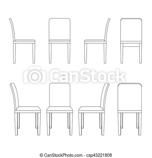 Fabuleux Chair illustration outline, perspective 3d front back and  UX36