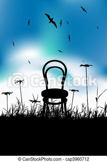 Chair on meadow summer, black silhouette - csp3960712