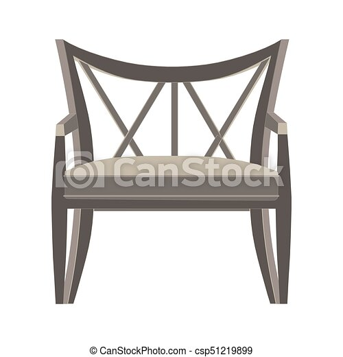 Chair vector icon illustration isolated view furniture design flat style retro modern - csp51219899