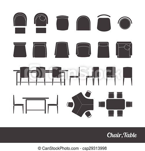 chairs and table icon - csp29313998