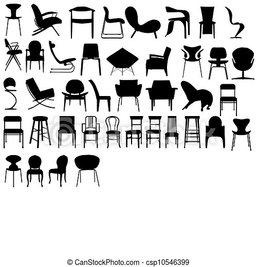 Chairs Black Illustration Illustration Of Different Types Of Chairs