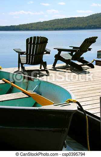 Chairs boat dock - csp0395794