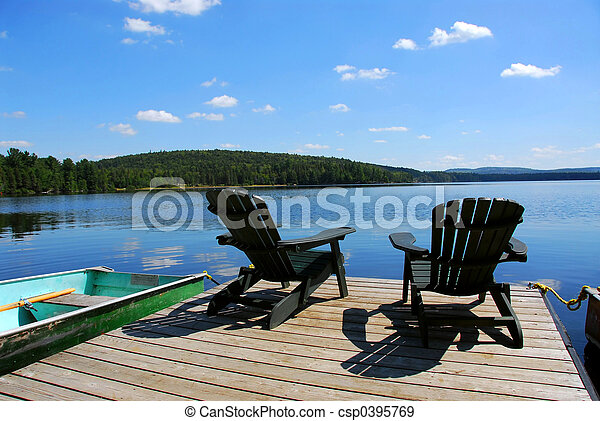 Chairs on dock - csp0395769