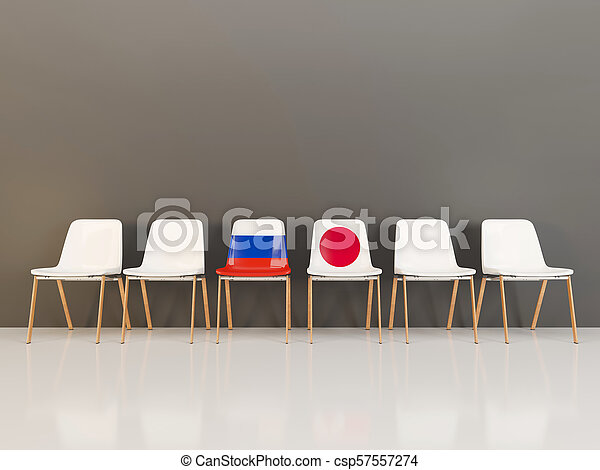 Chairs with flag of Russia and japan - csp57557274