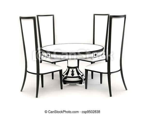 Table And Chairs Clipart. Chairs With Round Table Isolated On   Csp9502838  And Clipart