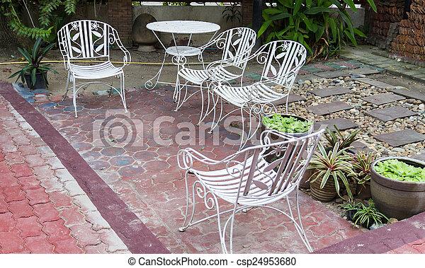 Chaise Blanc Jardin Fer