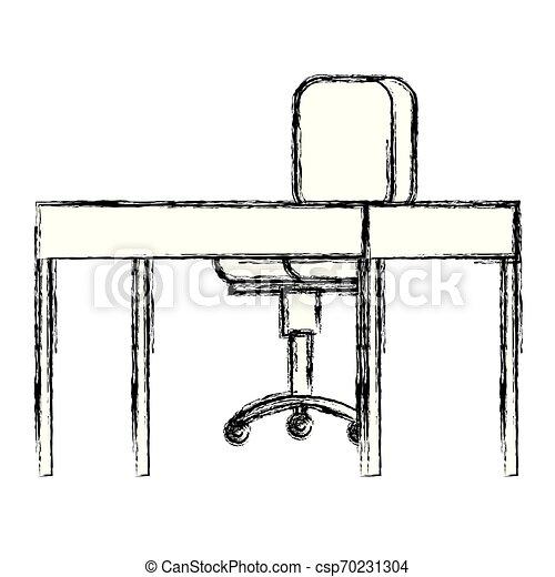 chaise bois, bureau bureau - csp70231304