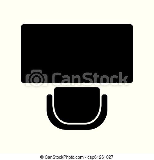 chaise, bureau, bureau, icône - csp61261027