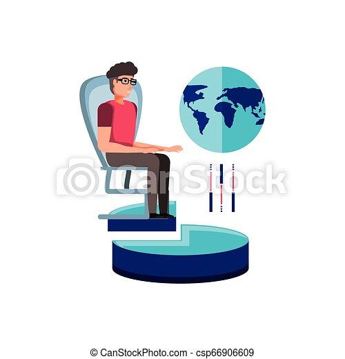 chaise, bureau, homme affaires - csp66906609