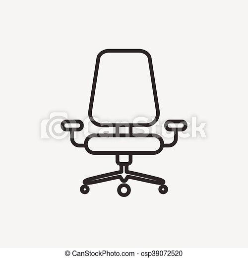 Chaise Bureau Icone Brun Contour Bureau Illustration Chaise