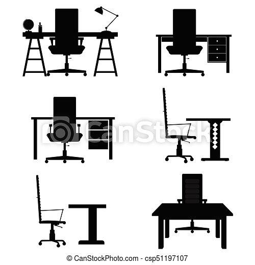 chaise, ensemble, illustration, bureau bureau - csp51197107
