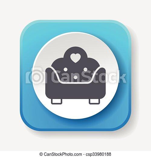 chaise, icône - csp33980188