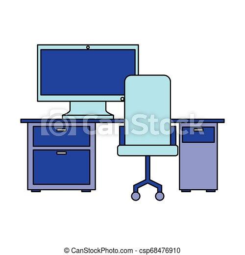 chaise, informatique, lieu travail, bureau bureau - csp68476910