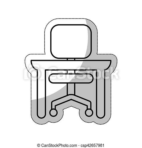 chaise, isolé, bureau, icône - csp42657981