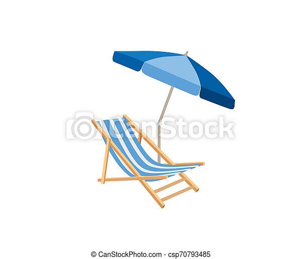 Chaise longue, parasol. Deck chair summer beach resort symbol of holidays - csp70793485