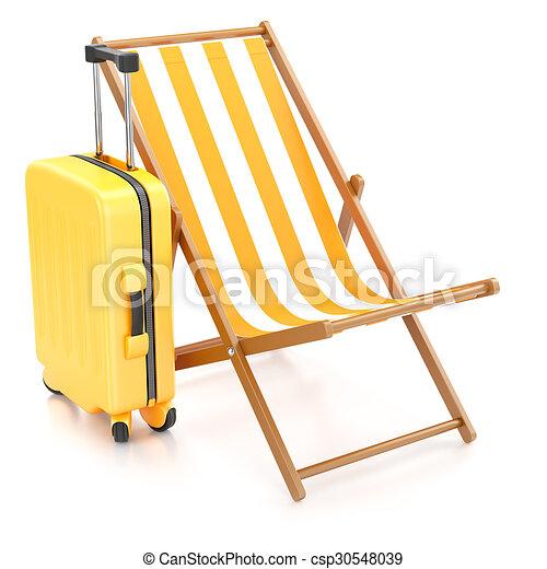 chaise longue, suitcase - csp30548039