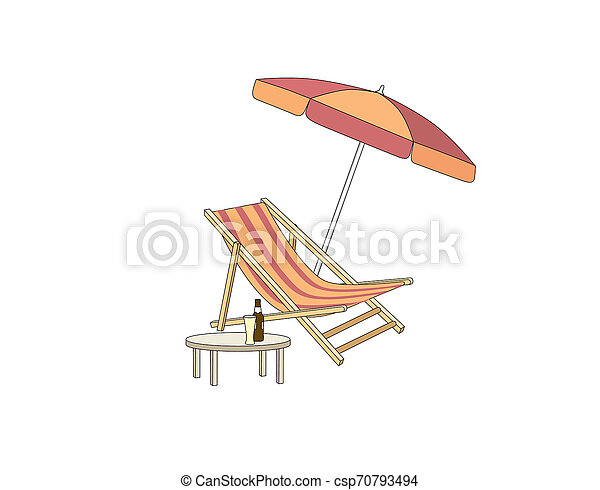 Chaise longue, table, parasol. Deck chair summer beach resort symbol of holidays - csp70793494