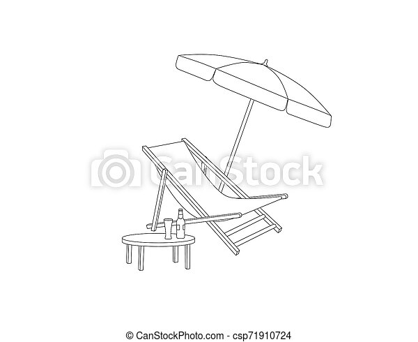 Chaise longue, table, parasol isolated. Deckchair outline drawing. Deck chair, table, parasol- summer sunbath beach resort symbol of the holidays - csp71910724