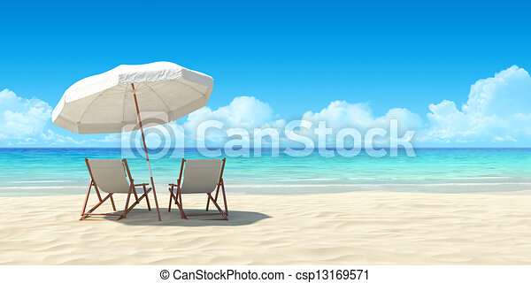 Chaise lounge and umbrella on sand beach. - csp13169571