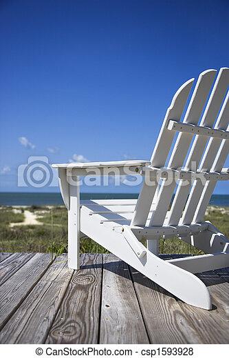chaise, plage, deck. - csp1593928