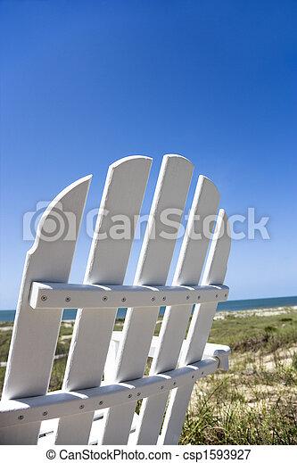 chaise, plage. - csp1593927