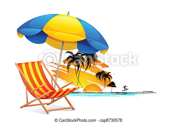 chaise, plage - csp8730578