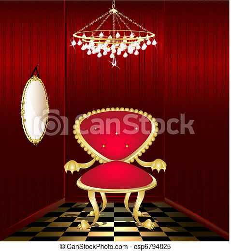 chaise, salle, rouges - csp6794825