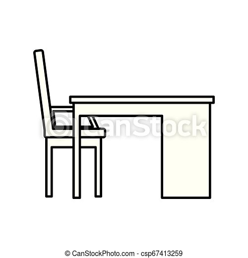 chaise, scène, bureau bureau - csp67413259