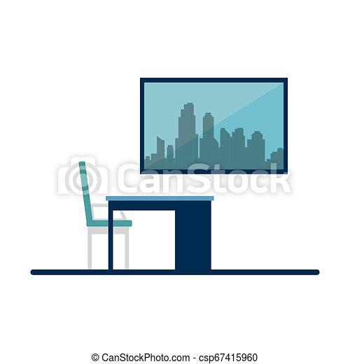 chaise, scène, bureau bureau - csp67415960
