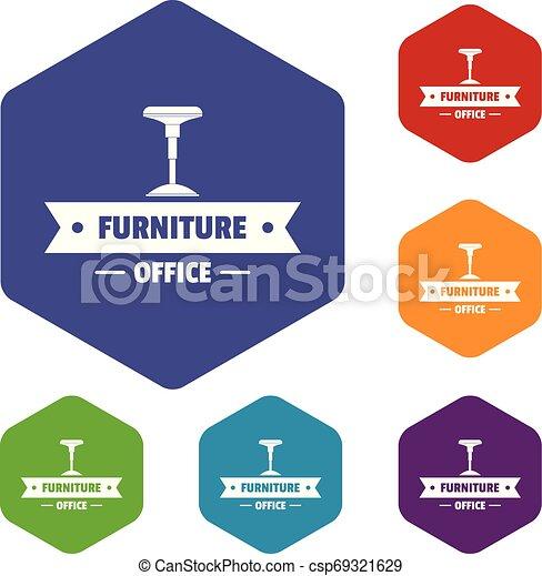 chaise, vecteur, hexahedron, icônes bureau - csp69321629