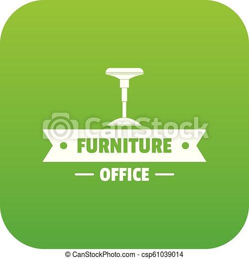 chaise, vecteur, vert, bureau, icône - csp61039014