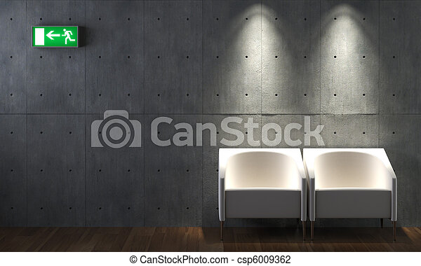 Chaises b ton conception int rieur mur mur deux for Conception interieur