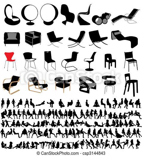 chaises, gens, collection, séance - csp3144843